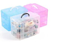 Wholesale New Transparent plastic Jewelry Makeup DIY Home Organizer Boxes Protable Travel Cosmetic Storage Case AF0073