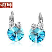 ao earring - Ming Lin Ao location crystal earrings Korean jewelry earrings ear buckle female Korean fashion cute