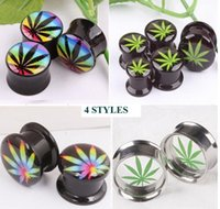 Wholesale 4 Different Styles Multi Color Green Hemp Leaf Column Acrylic Ear Plug Flesh Tunnel Body Jewelry Mixing Sizes