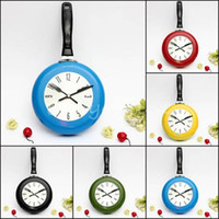Wholesale Overvalue Creative Stylish Inch High Quality Metal Flying Pan Wall Clock Kitchen Home Office Cooking Quartz Hanging Design