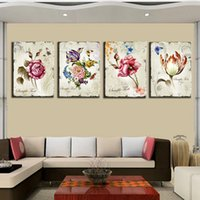 Cheap 4 Pieces Classic Floral Canvas Prints Combination Home Interior Decorative Painting Flower Art Pictures for Room Wall Decoration