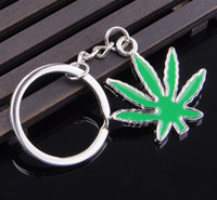 Wholesale 10pcs green Maple Leaf Key Chain Bling Key Tag Pot key chain leaf key ring Rasta Jamaican Metal Keyring Carabiner Keychains