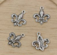 Wholesale Hot Sales Antique Silver Zinc Alloy Fleur De Lis Charms Pendants DIY Making x18mm