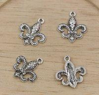 fleur de lis - Hot Sales Antique Silver Zinc Alloy Fleur De Lis Charms Pendants DIY Making x18mm