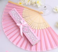 Wholesale will Silk Fan in Elegant Laser Cut Gift Box for Wedding Party Gifts