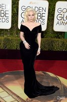 Wholesale 73rd Golden Globes Lady Gaga Black Sexy Celebrity Dresses Off Shoulders Velvet Backless Mermaid Cap Sleeves Arabic Evening Gowns with Train