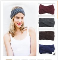 Beanie/Skull Cap knitting Casual Christmas 14 Colors Hair Band Winter Warm Women Wool Knitting Girls Hair Accessories Crochet Bow Headband Chrismtas Gifts DHL Free shipping
