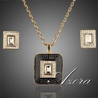 18k gold - AZORA K Real Gold Plated Rectangle Stellux Crystal Hoop Earrings and Pendant Necklace Sets TG0009