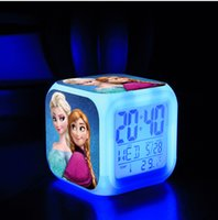 Wholesale Frozen Retail Alarm Clock LED Colorful Clock Digital Alarm Clock Thermometer Night Colors Changing Toys Digital Alarm Clock