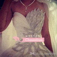 Wholesale Samples Neck Beads - 2015 Luxury Real Sample Wedding Dresses Crystal Beaded Leaves Sweetheart Neck Lace Up A-Line Court Train White Lace And Satin Bridal Gowns