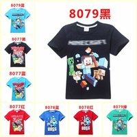 100 % cotton t shirts - 2015 AAA quality cotton minecraft color size kids boy girl unisex summer short sleeve t shirts leisure tops gifts TOPB1848