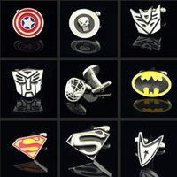 Wholesale Avengers cufflinks men cufflinks spider man superman captain america batman green lantern cufflinks high quality