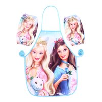 art smock - Cartoon Barbie Princess Waterproof Printed Kids Childrens Cooking Art Painting Smock Apron Set Sleeveless Aprons Oversleeves