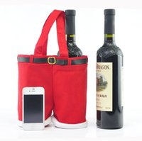Wholesale Christmas Pouch Pants - L S Hot Sale Fashion Christmas Santa Pants Wine Bottle Cover Bag Cute Candy Pouch for Christmas Decoration 2016 New Year X-mas
