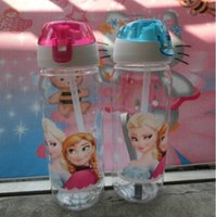 suction cup - 2015 High Quality drinkware Frozen Anna and Elsa PP Texture Suction cups kids cartoon water bottle sports bottle JAN37