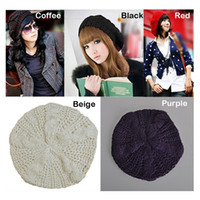 Wholesale Women Winter Hats Warm Beret Braided Baggy Beanie Knitted Hat Ladies Autumn Cap Colors Fashion