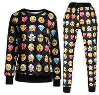 Wholesale Women Men Personalized Emoji Joggers Hoodie Sweatshirt Pullover Top Sweater D Cartoon Pants Loose Trousers Sports Running Suits Tracksuits