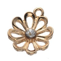 14k findings - 200 KF gold color D flower charms pendant good for jewerly finding DIY craft etc