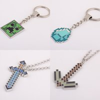 Wholesale Hot Game Minecraft JJ blame Creeper Diamond Pendant Metal Figure Toy Fashion Necklaces keychains