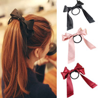 Wholesale Fashion elegant ribbon bow hair ring double cloth ribbon head bright surface hair rope ring L10130 order lt no tracking