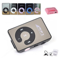Wholesale Mirror Surface mini clip mp3 player with usb cable and earphone support TF SD Card sport mp3 music player