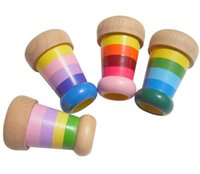 Wholesale Children Kids Educational Classic Toy Colourful Wooden Magic Kaleidoscope Polygon Prism Toys