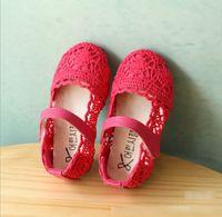 magic rose - Korean Spring Baby Girls PU Leather Hollowed Lace Shoes Bohemia Children Girl Princess Magic Tape Soft Sole Flats Beige Pink Rose K3300