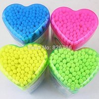 Wholesale Cotton swab Heart shape Health care cotton tipped heart box makeup tools color small boxed cosmetic cotton buds box