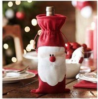 christmas decoration santa claus - Big Discount Christmas cm Santa Claus Red Wine Bottle Cover Bags Christmas Table Dinner Decoration Home Party Decors