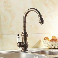 antique vanity sinks - 2015 Kitchen faucet Antique Brass Bathroom Basin Sink Faucet Swivel Spout Vanity Sink Mixer Tap Single Handle