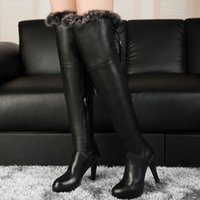 Wholesale 2014 Winter Fashion Girls Leather Thigh Boots Lace up Cony Fur Round Toes Super High Heel Platform Ladies Warm Shoes