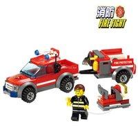 Cheap City Fire Trucks Building Blocks Bricks toys Fire Fighting Truck 143pcs DIY Bricks Boy Birthday Gift Toys Brinquedo
