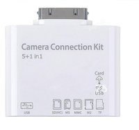 Wholesale New in Camera Connection Kit Card Reader USB SD Micro T flash TF MS DUO MMC M2 Photo For Iphone s iPad with retail package DHL