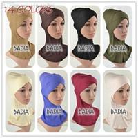 achat en gros de hijab intérieure-Grossiste-pleine Croix Intérieur musulman Hijab Cap Femmes Viscose Jersey Plaine Soild Hijab Sous-vêtement islamique Head Wear Chapeau Bonnet Tubes Wraps