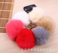 Wholesale Fashion Cute multicolor Silver Metal Key rings Keychain For Car Bag Key Chains Pendant Accessories cm Soft Faux Rabbit Fur Ball Free