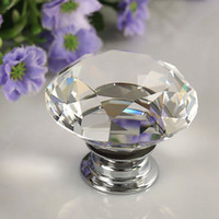 Cheap 30mm Diamond Clear Crystal Glass Door Pull Drawer Knob Handle Cabinet Furniture A3