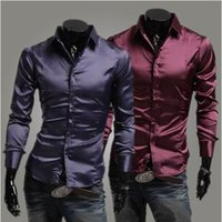 Cheap 2014 Brand Men's Shirt Mens Fashion Silk Shiny Leisure Wear man Long Sleeve Dress Shirt Black   Wine Red   Purple,RHY954