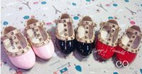 Cheap 2015 Spring Elegant Rivet Princess Patent Leather Kids Low-heeled Children Shoes Girls Wedge Sandals 3 Colors
