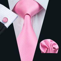 Set de corbata clásico rosa Hankerchief mancuernas Jacquard Woven Tie Set hombre Negocio de boda de trabajo formal N-0557