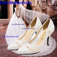 Wholesale women cutout satin fabrichigh heel sexy lace wedding shoes shallow mouth pointed toe genuine leather bride pumps