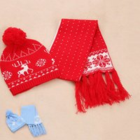 Wholesale Set Snowflake Tassel Baby Scarf and Hat Knitting Earflap Kids Winter Hats Boys Baby Girl Hat Scarf VI0031