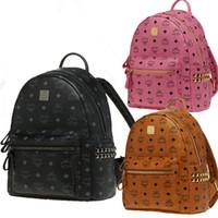 Coreano di marca del progettista zaino di scuola Rivetti Uomini donne quotidiana Shoulder Bag Brown Bag Classic EXO celebrità Bag superiore