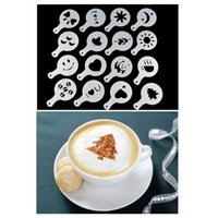Wholesale DIY Cake duster templates Coffee Stencil Cappuccino Stenciling Latte Art Stencils Fancy Coffee Tools set order lt no track