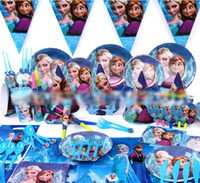 frozen party supplies - 2014 Hot Sale New Arrival Fashion Festive Europe Froze Anna Elsa Cartoon Children Party Suit Party Supplies Kids Party Decoration E0453