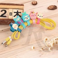 Wholesale 5 Pc Cute Cartoon Animal Design Cable Winder Headphone Wrap Wire Device Earphones Silicone Winder Stud Snape Button Cord Wrap