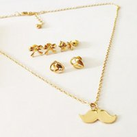 Wholesale DHL Gold Plated Cute Simple Geometric Heart Triangle Wishbone Mustache Necklace and Earring Jewelry Set for Women