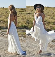 Cheap Sexy Backless Beach Chiffon A-Line Wedding Dresses Boho Lace Applique Bridal Gowns Spaghetti Sweetheart Ruffles Floor-Length 2015