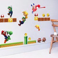Wholesale Super Mario Wall Sticker Kindergarten Children Room Decorates Wall Stick Mario Can Remove The Cartoon Wall