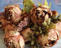 fall decorations - HIGHT Quality silk flower European Bouquet Artificial Flowers Fall Vivid Peony Fake Leaf Wedding Home Party Decoration