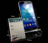 acrylic labels - Universal Acrylic Mobile Cell Phone Display Stand Holder With Label Price Tag Display Rack Holder